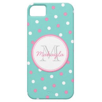Lunares rosados y blancos iPhone 5 funda