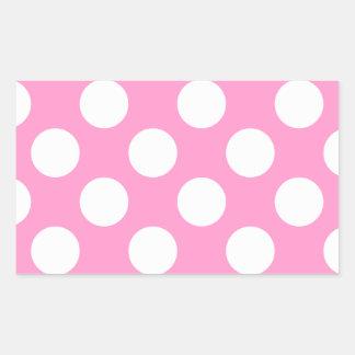 Lunares rosados y blancos rectangular pegatina