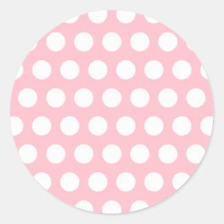 Lunares rosados y blancos pegatina redonda