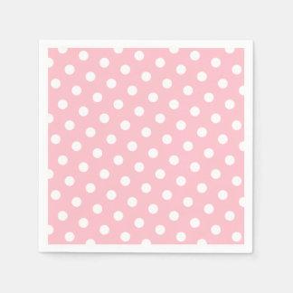 Lunares rosados y blancos servilleta de papel