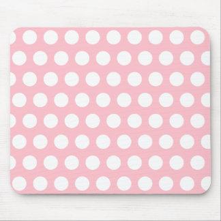Lunares rosados y blancos alfombrilla de ratón