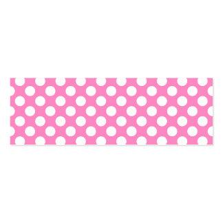 Lunares rosados y blancos tarjetas de visita mini