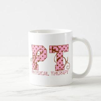 lunares rosados y marrones de la pinta taza básica blanca