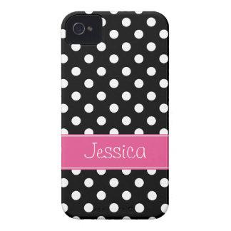 Lunares rosados y negros de muy buen gusto iPhone 4 cobertura