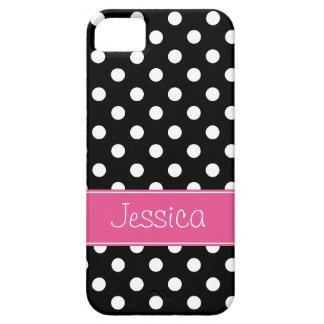 Lunares rosados y negros de muy buen gusto iPhone 5 fundas