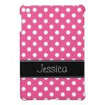 Lunares rosados y negros de muy buen gusto persona iPad mini fundas