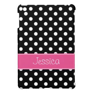 Lunares rosados y negros de muy buen gusto persona iPad mini cárcasa