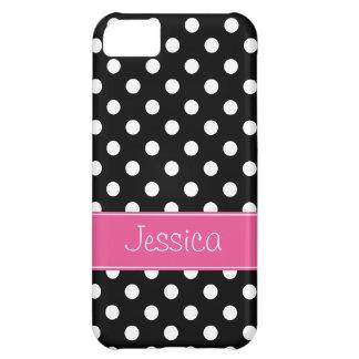 Lunares rosados y negros de muy buen gusto persona funda para iPhone 5C
