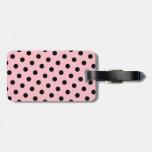 Lunares rosados y negros etiquetas de maletas