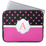 Lunares rosados y negros lindos, dulces hermosos mangas portátiles