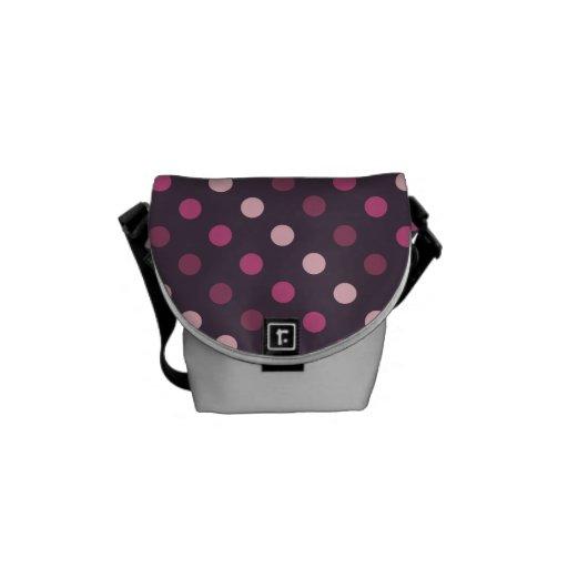 Lunares rosados y púrpuras bolsas de mensajeria