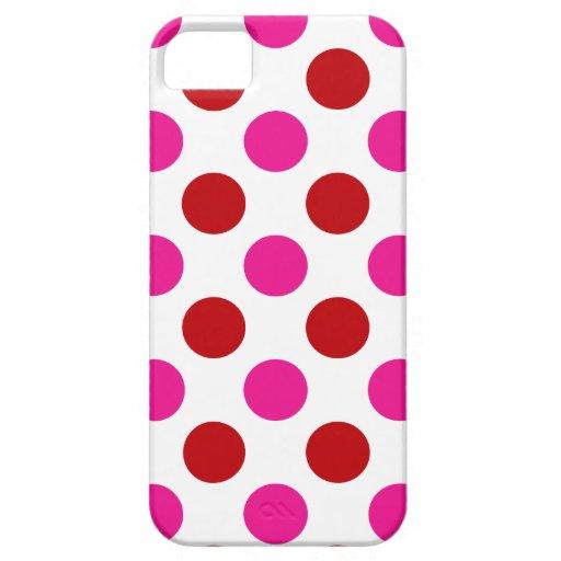 Lunares rosados y rojos clásicos iPhone 5 funda