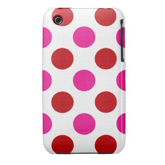 Lunares rosados y rojos iPhone 3 Case-Mate protectores