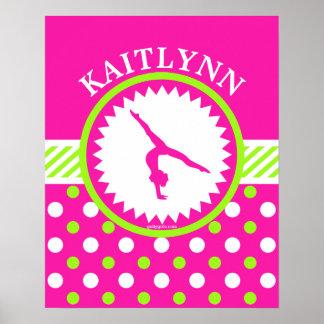 Lunares rosados y verdes de la gimnasia con póster