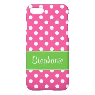 Lunares rosados y verdes de muy buen gusto funda para iPhone 7