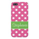 Lunares rosados y verdes de muy buen gusto persona iPhone 5 fundas