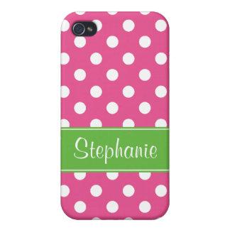 Lunares rosados y verdes de muy buen gusto persona iPhone 4/4S carcasa