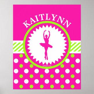 Lunares rosados y verdes del bailarín con póster