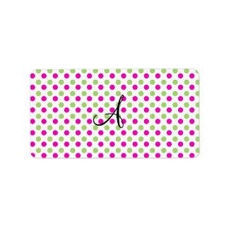 Lunares rosados y verdes del monograma etiquetas de dirección