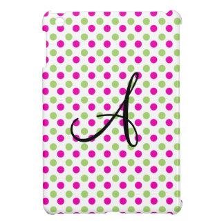 Lunares rosados y verdes del monograma iPad mini carcasas