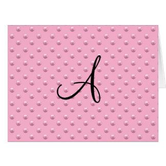 Lunares rosas claros de la perla del monograma felicitaciones