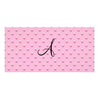 Lunares rosas claros de la perla del monograma tarjetas personales