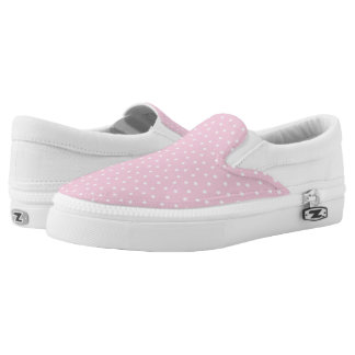 Lunares rosas claros y blancos lindos zapatillas