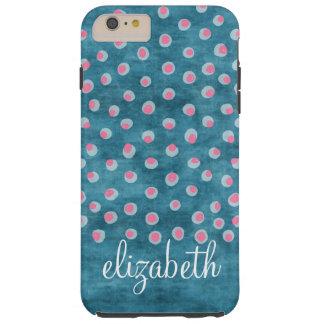 Lunares sucios de la acuarela - azul y rosa funda de iPhone 6 plus tough
