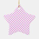 Lunares - ultra rosa en blanco ornamento de navidad
