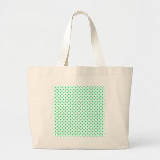 Lunares - verde de la primavera en blanco bolsa