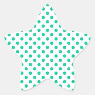 Lunares - verde del Caribe en blanco Pegatina En Forma De Estrella