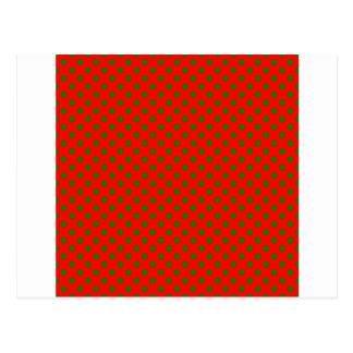 Lunares - verde en rojo postal