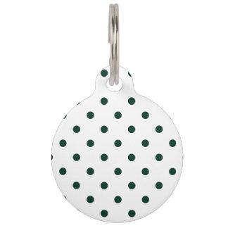 Lunares - verde oscuro en blanco placas de mascota