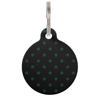 Lunares - verde oscuro en negro identificador para mascotas