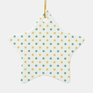Lunares verdes amarillo claro y del trullo adorno de cerámica en forma de estrella