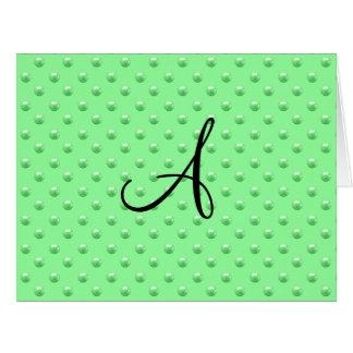 Lunares verdes claros de la perla del monograma tarjeta
