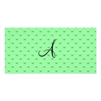 Lunares verdes claros de la perla del monograma tarjetas fotograficas personalizadas
