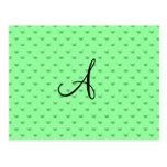 Lunares verdes claros de la perla del monograma postal