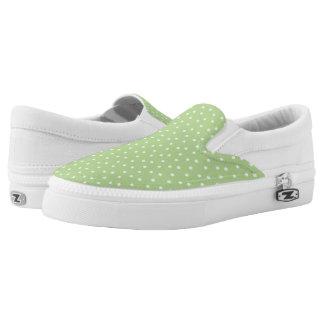 Lunares verdes claros y blancos lindos zapatillas