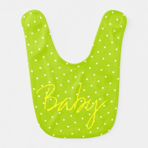 Lunares verdes claros y blancos baberos de bebé