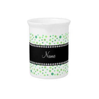 Lunares verdes conocidos personalizados jarras para bebida