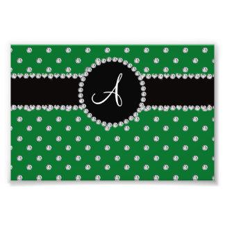 Lunares verdes de los diamantes del monograma impresion fotografica