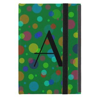 Lunares verdes del arco iris del monograma iPad mini protector