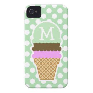 Lunares verdes del Celadon Cono de helado iPhone 4 Carcasas