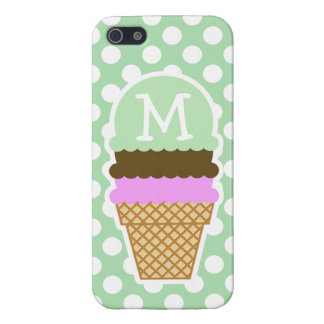 Lunares verdes del Celadon Cono de helado iPhone 5 Cobertura