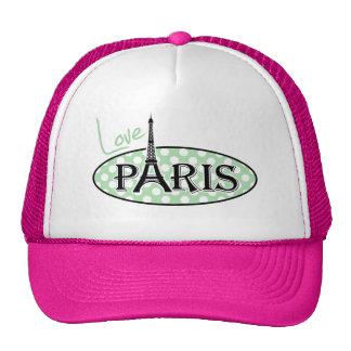 Lunares verdes del Celadon; París Gorros Bordados