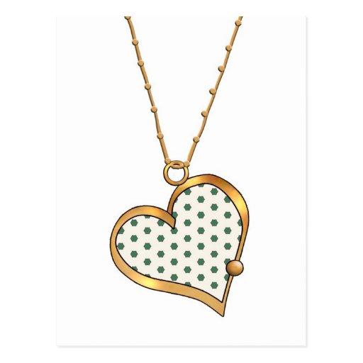Lunares verdes del collar 02 del corazón tarjetas postales