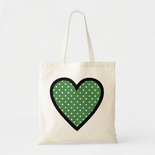 Lunares verdes del corazón bolsas de mano