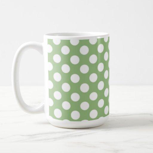 Lunares verdes del laurel taza básica blanca