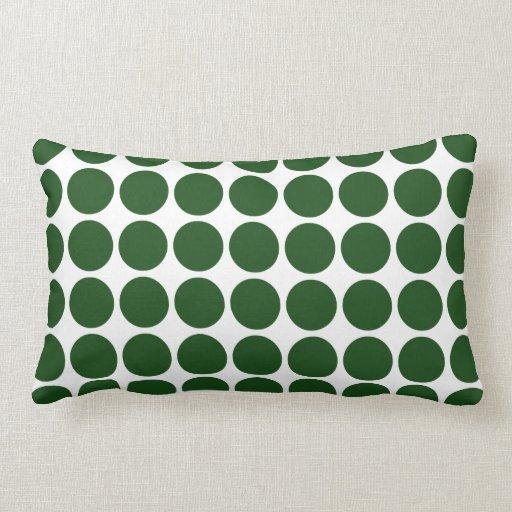 Lunares verdes en blanco cojín